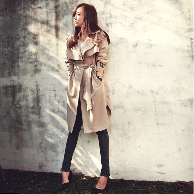 Kingsnower 2016 Outono Inverno Mulheres Trench Coat Feminino Blusão Senhoras Bolso Moda Casual Solto Plus Size 3XL JA8031