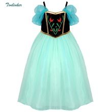 New anna dress puffle sleeve girls costumes snow queen cosplay princess Anna clothes vestido infantis disfraz 3-10T