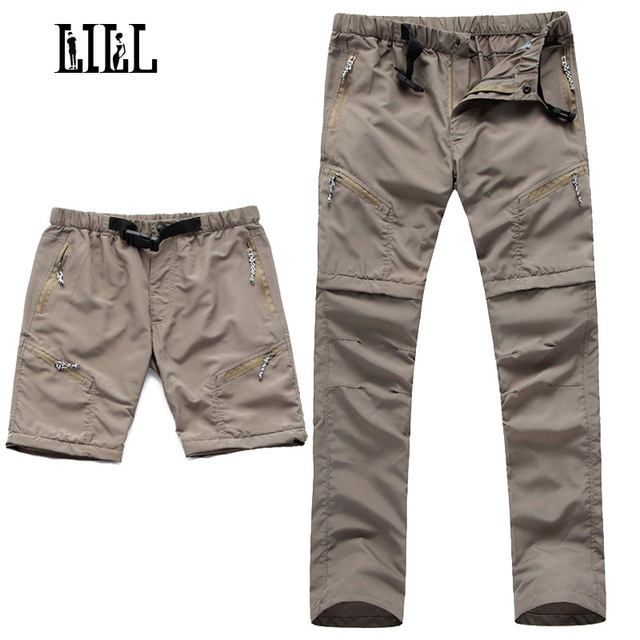 LILL | Removable Quick Dry Men's Pants 2017 Summer Breathable Travel Trousers Men Joggers Black Khaki Mens Casual Pants,UA029