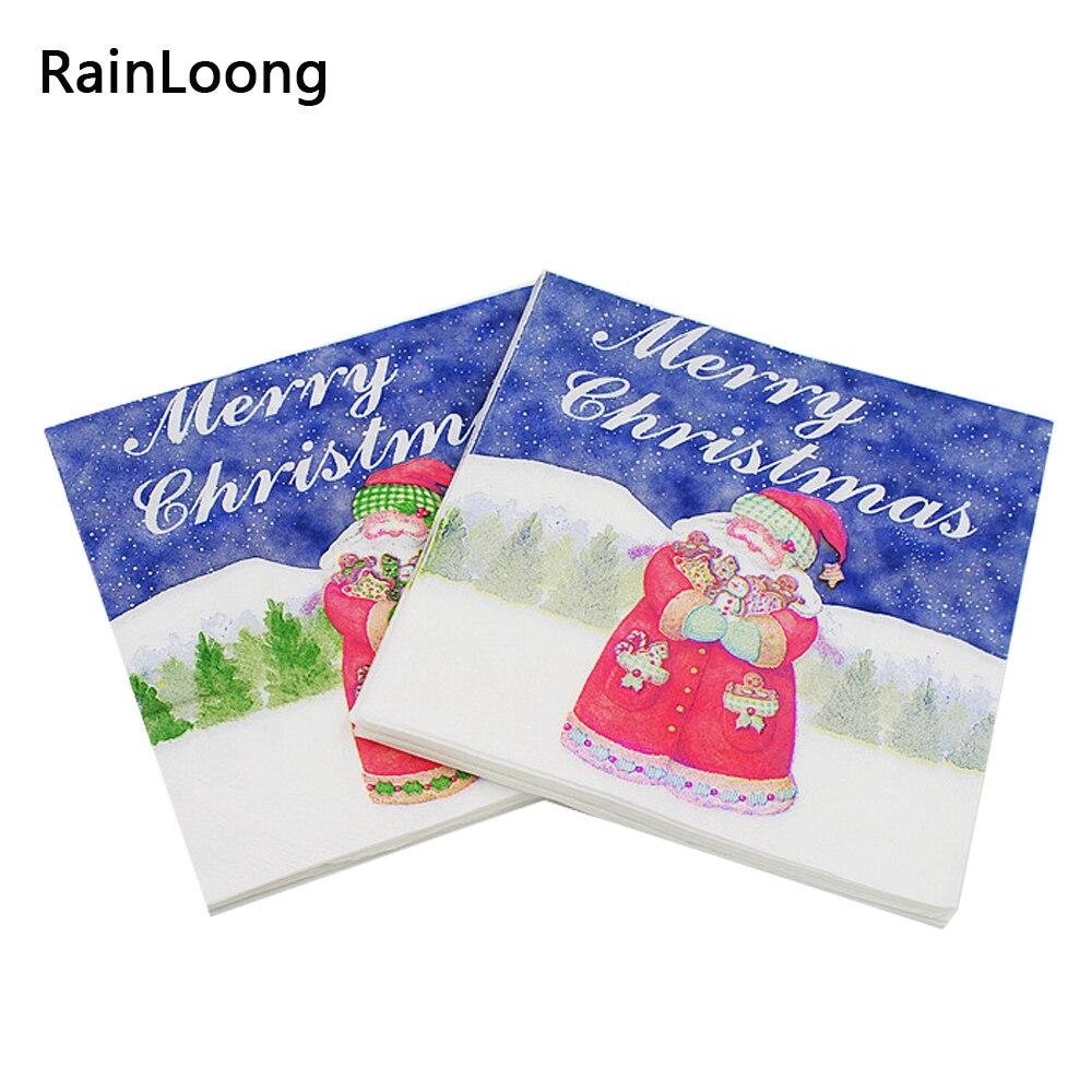 [RainLoong] Santa Paper Napkin Christmas Event & Party Supplies Tissue Napkin Supply Decoration Paper 33cm*33cm 1pack/lot