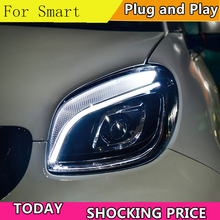 car styling For BENZ smart headlights angel eyes 2015-2018 For BENZ smart LED light bar Q5 bi xenon lens LED Bulb projector цена в Москве и Питере