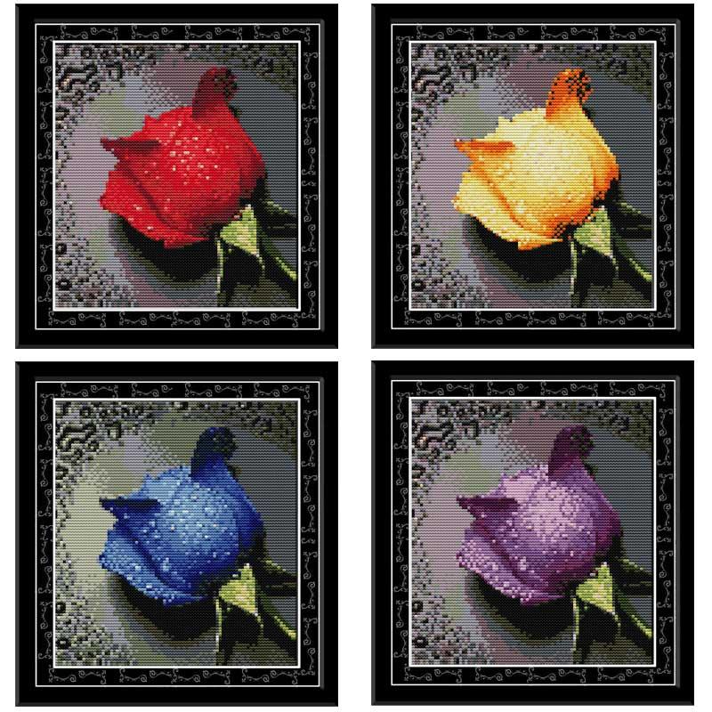 Rose avec de la Rosée Compté Point De Croix 11CT 14CT Point De Croix Ensemble Fleur De point de Croix Kit Broderie Couture 3ÈME