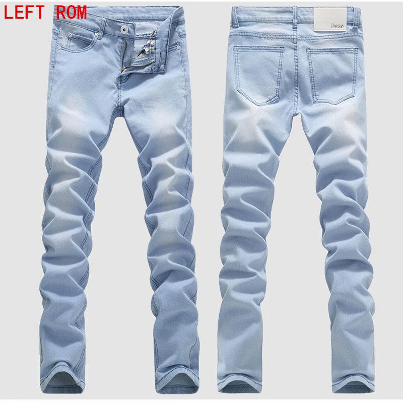 Man Jeans Male Fashion Designer Brand Elastic Straight Jeans New Men Mid Pants Slim Skinny Men Jeans Stretch Jeans For Man