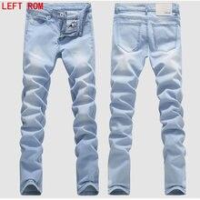 e21f0eae67 Man Jeans Male Fashion Designer Brand Elastic Straight Jeans New Men Mid Pants  Slim Skinny Men