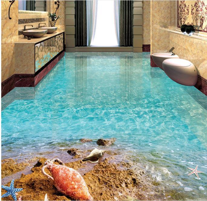 3d Floor Tiles Custom Papel De Parede 3d Europeu Beach
