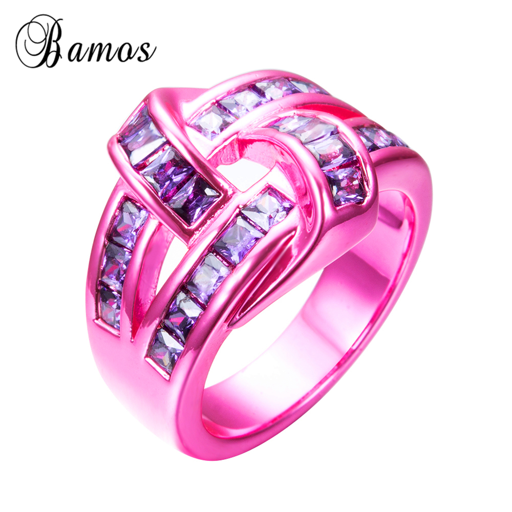 Bamos 2017 Bohemian Female Purple Oval Ring Fashion Pink Gold Filled ...