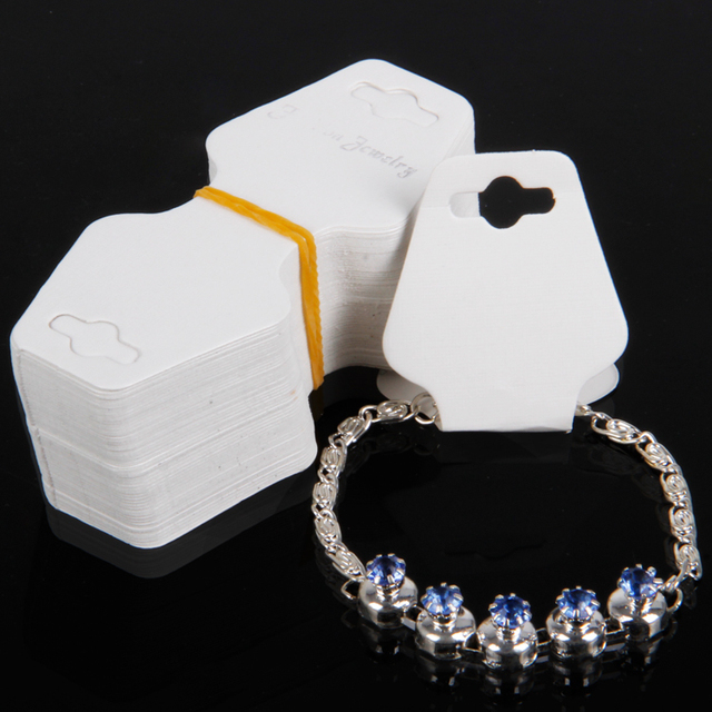 Tonvic 600pcs Lot White Paper Fold 3 5x4cm Necklace Bracelet Card For Fashion Jewelry Display