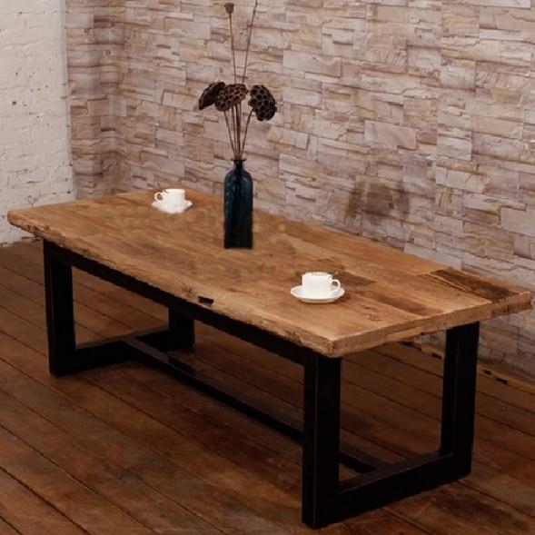 Distressed paese americano tavolino in legno tavolino mobili in ferro battuto gambe vecchio - Tavoli in legno con gambe in ferro ...