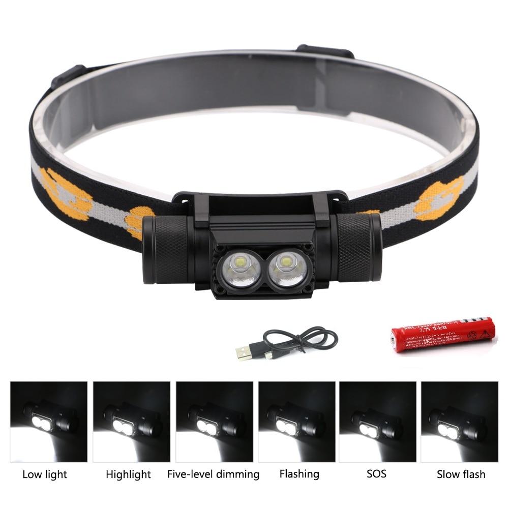 Sanyi XM L2 светодиодный налобный фонарь USB зарядный интерфейс велосипедная фара 6 режимов затемнения 18650 головной фонарь для кемпинга Налобные LED-фонари      АлиЭкспресс