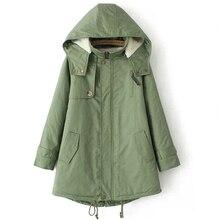 2016 зима женщины повседневная пальто плюс размер верхней одежды средней длины ватные куртки толстая капюшоном хлопка ватные теплый кашемир куртка MA413