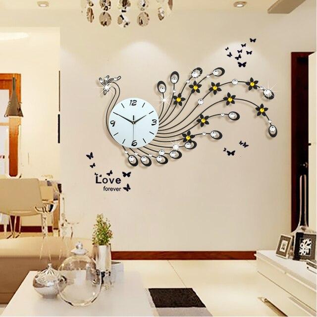 Große Pfau Wanduhr Modernes Design Wohnzimmer Wand Uhr Eisen Mute Digitale  Wanduhr Home Decor Dekorative Uhr Wand