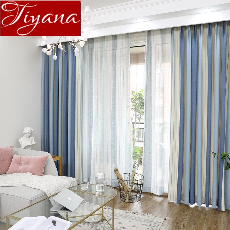 Kitchen Curtains Fabric Curtains Fabric Stripe Drapes: Aliexpress.com : Buy Striped Curtains Blue Window Bedroom