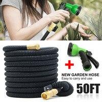 1 Set 50FT Telescopic Garden Hose Latex Tube Magic Garden Hose Expandable Flexible Car Hose Garden Irrigation Hose Water Gun