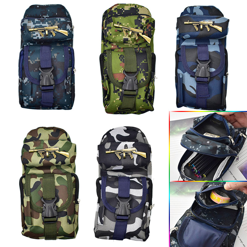 Student Creative Oxford Camouflage Gun Pencil Case Large Zipper Canvas Pencil Box Pen Bags School Supplies 220909 school gifts boxes pupil men multifunctional creative disney child pencil box primary school student