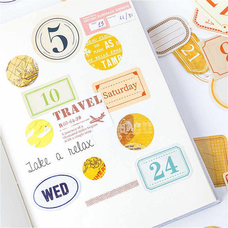 45 Pcs/lot Tanggal Nomor Washi Tape Dekoratif Kertas Warna-warni Set Alat-alat Tulis Jepang Kawaii Scrapbooking Perlengkapan Stiker