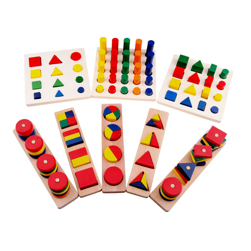 8 pcs Montessori Geometry Shapes Knobless Cylinders Fraction Stacking Sorting Board Montessori Materials Wooden Educational Toy