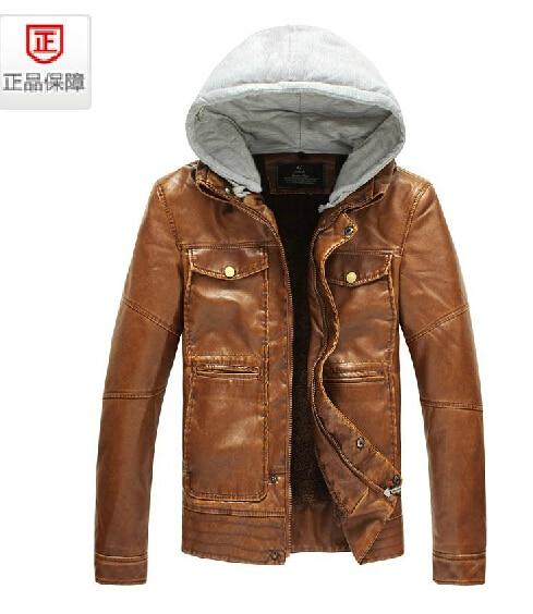 NEW ! autumn Men's fashion Plus velvet leather clothing slim short design Detachable cap PU motorcycle leather jacket / L-3XL