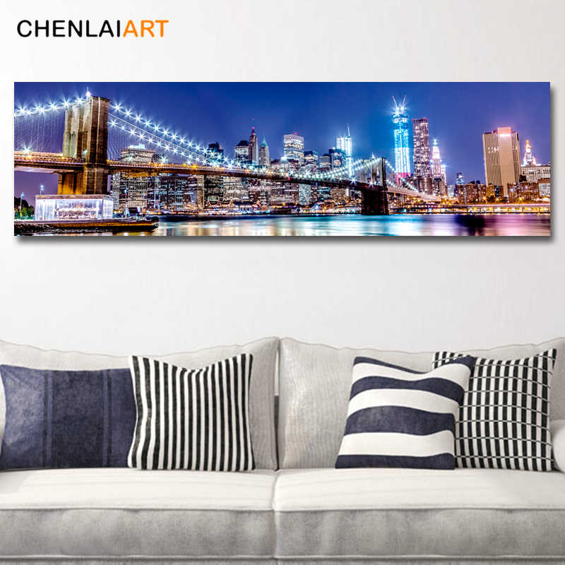 City Night New York Brooklyn Bridge Canvas Prints Painting Modern Picture Wall Art For Living Room Poster and Prints No Frame