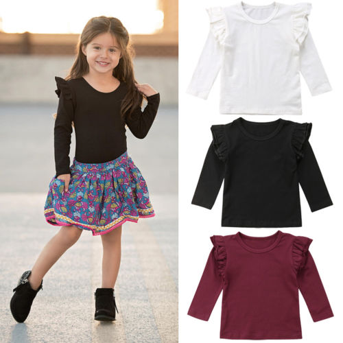 Baby Girl Toddler Kids Ruffle Long Sleeve Tops Tee Shirt Clothes Solid Color T-shirt