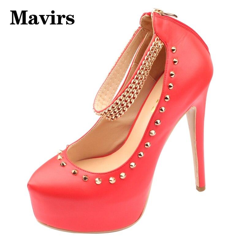 ФОТО MAVIRS Women High heels Rivets Metal decoration Spring Autumn Big size 34-46 Round toe Thin heels Super high-heeled Ladies pumps