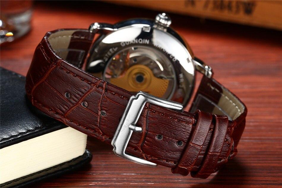 2018 Fashion GUANQIN Mens Watches Top Brand Luxury Skeleton Watch Men Sport Leather Tourbillon Automatic Mechanical Wristwatch