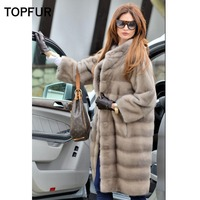 TOPFUR 2018 New Coming Real Mink Fur Coat Women 100 Cm Light Gray Mink Fur Coat Whole Skin Slim Winter Warm Fur Outwear Coat