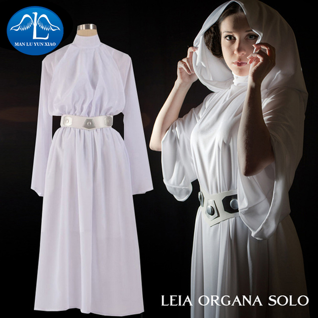Manluyunxiao Women S Costume Princess Leia Organa Solo Cosplay Deluxe White Chiffon Hooded Turtleneck Dress Whole