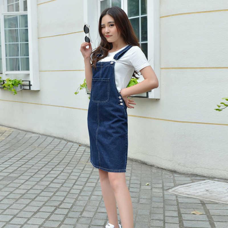 Voobuyla размера плюс 4XL летнее женское платье из джинсовой ткани, сарафан, повседневные Свободные Комбинезоны, платья для женщин, одноцветное джинсовое платье с регулируемым ремешком