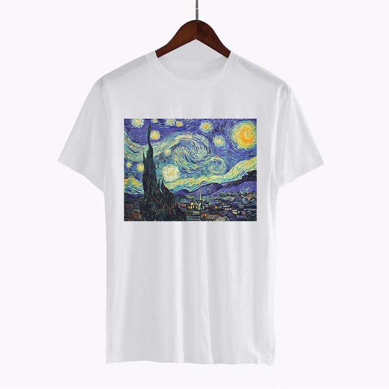 2018 hohe Qualität t-shirt Frauen Sommer Tops Van Gogh öl Gedruckt Modell Kleidung Plus Größe Beiläufige Einzigartige t-shirts Harajuku tees