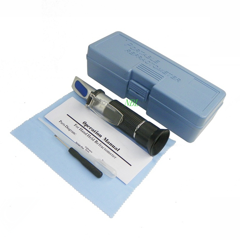 HandHeld Brix Refractometer For Food Sugar Beer Brix Test 0-32% Brix Fruits Vegetables ATC Refractometer Meter With Retail Box ootdty 1pc rsg 100atc 0 32% brix