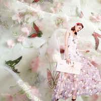 Chiffon Butterfly African Lace Fabric Organza Print Embroidered Fabric Stereoscopic Flower Cloth By Hand Lace Applique