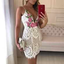 2019 Spaghetti Strap Sexy V-Neck Sleeveless Hollow Out Cocktail Party Dresses Embroidered Lace Crochet Overlay Mini Slip Dress цены онлайн