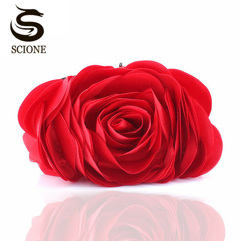 Fashion Flower Clutch Bag Women Wedding Handtas Bridal Clutch Purse Avondjurk Clutches Party Wallet Schouder Keten Tas