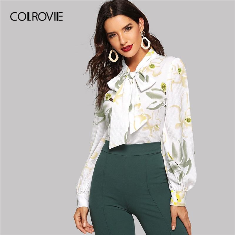 COLROVIE White V-Neck Tie Neck Floral Print Textured Elegant   Blouse     Shirt   Women Clothing 2019 Spring Fashion   Shirts   Ladies Tops