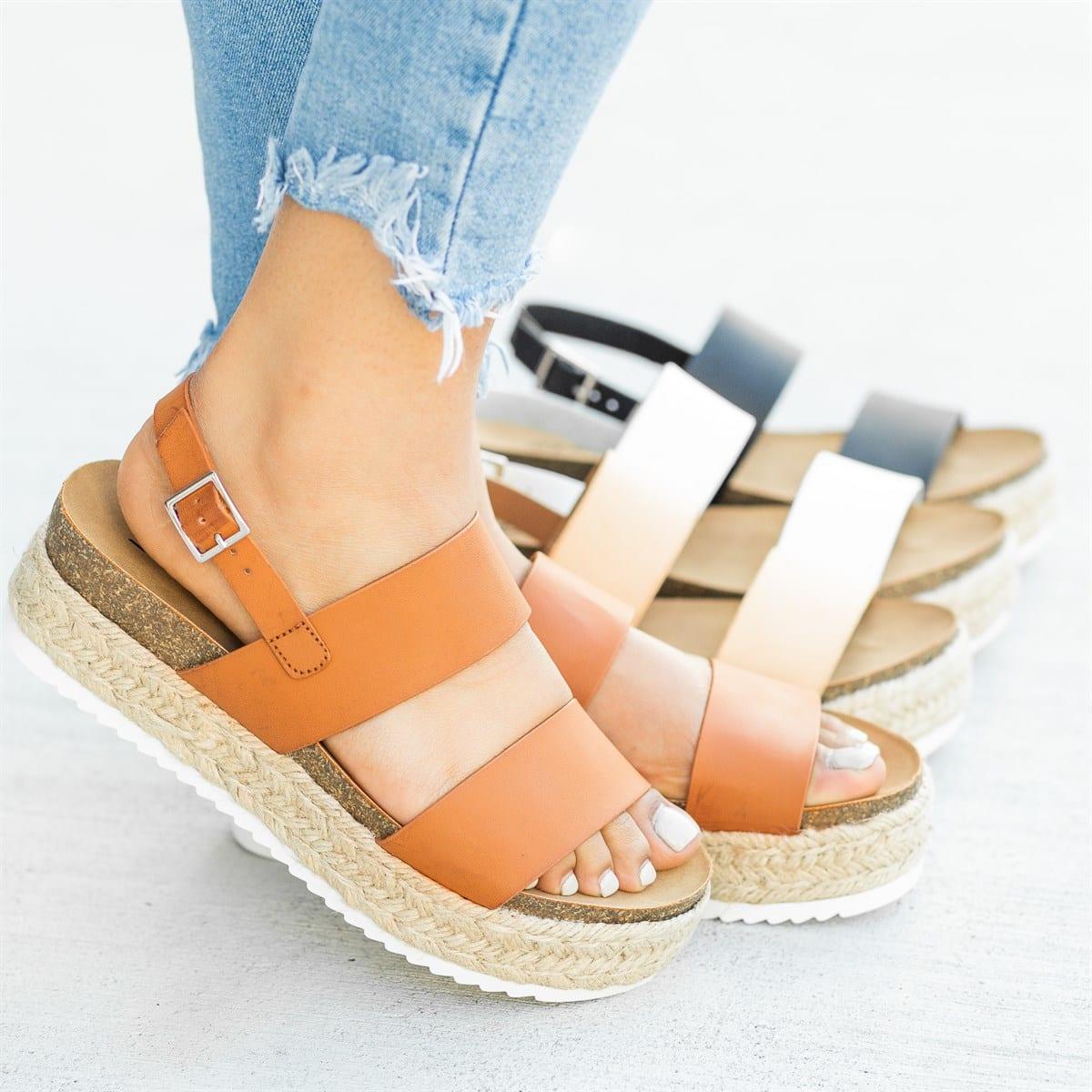 Adisputent Sandal Summer Strap Ladies Shoes Plateform Wedges Women High-Heels Comfort