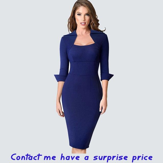 Autumn Professional Women Formal Sheath Bodycon Slim Elegant Work Business Office Lady Dress 1