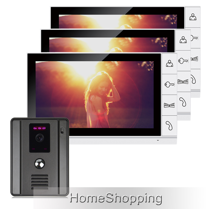FREE SHIPPING Wired New 9 TFT LCD Screen Video Door phone Intercom System With 1 Night Vision Door bell Camera + 3 Monitors