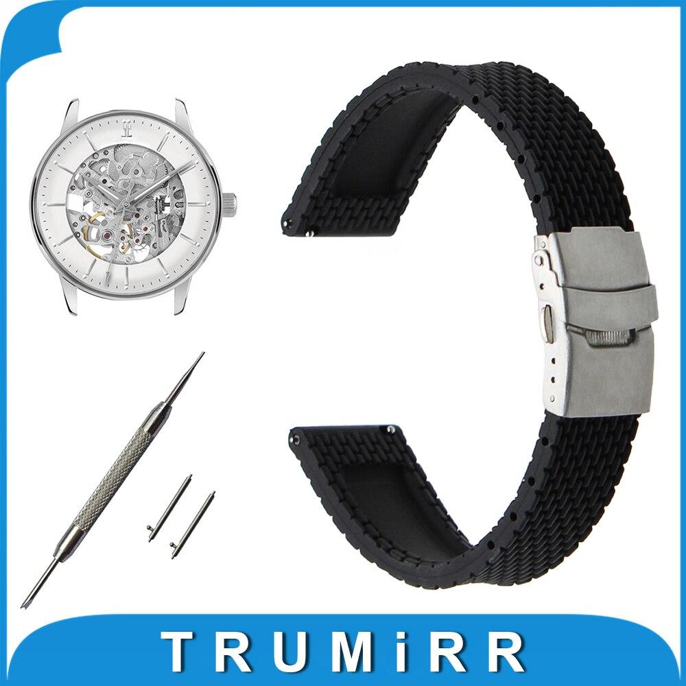 Quick Release Silicone Rubber Watchband 17mm 18mm 19mm 20mm 21mm 22mm 23mm 24mm for Movado Strap Wrist Belt Bracelet + Tool silicone rubber watch band 17mm 18mm 19mm 20mm 21mm 22mm 23mm 24mm universal watchband strap wrist belt bracelet