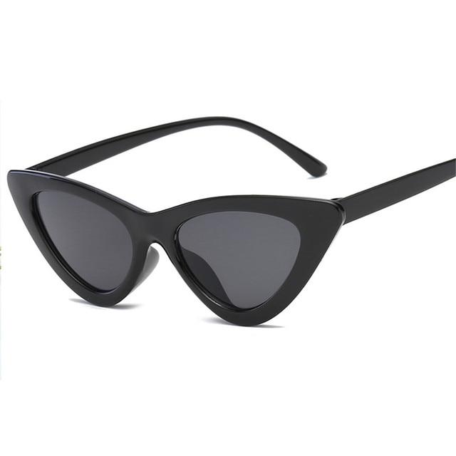 2019 fashion sunglasses woman brand Designer vintage retro triangular cat eye glasses oculos De Sol Transparent ocean uv400