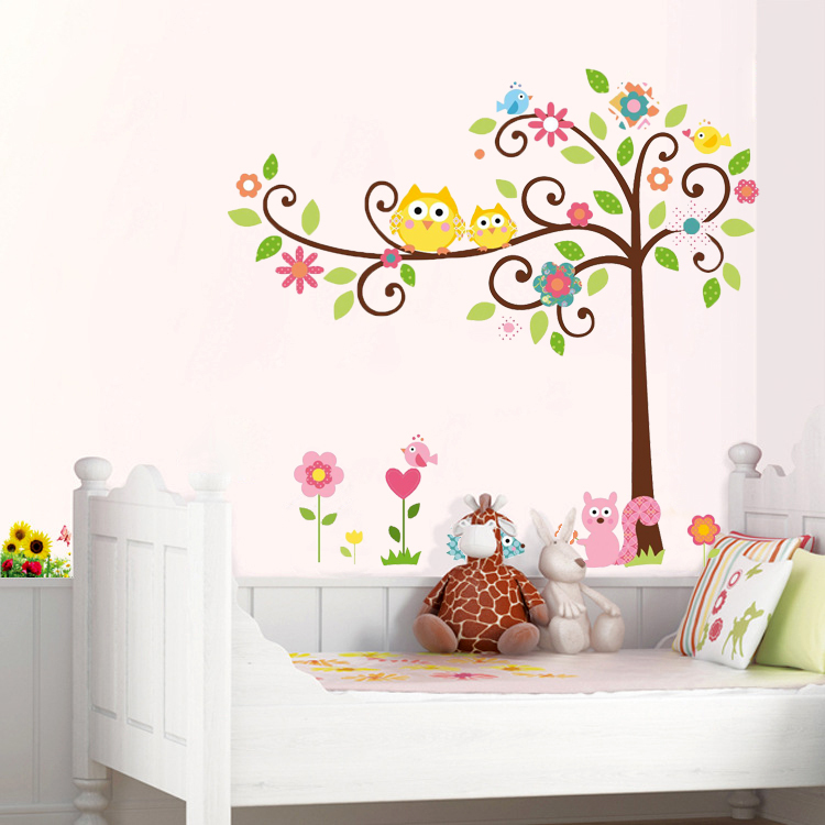 Hot Sell!High Quality Cute Owl Tree Wall Sticker New Cartoon Animal Wall Decal for Nursery Kids Room Home Decoration 120*110cm