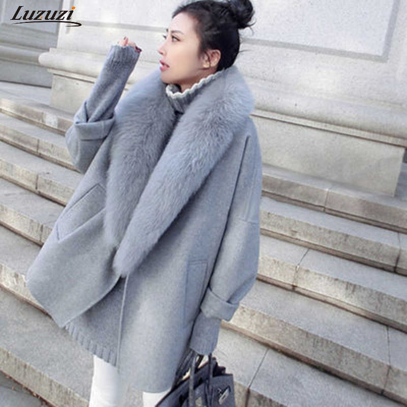 Luzuzi Fashion Women's Spring Woolen Coat Animal Fur Large Size Warm Wool Coat Loose Thick Long Jacket  CR3871