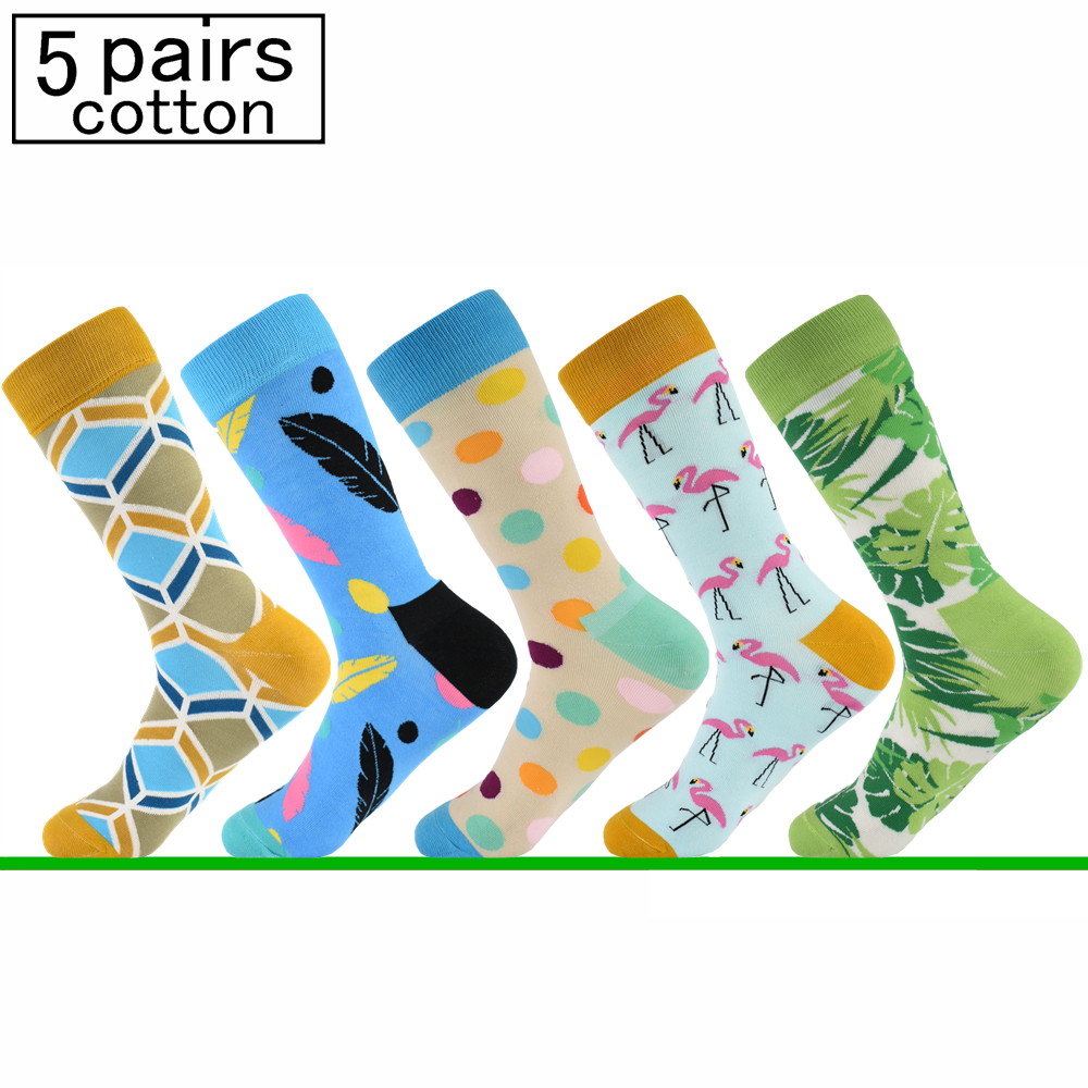 5 Pairs of Combed Cotton Mens Socks Happy Casual Dress Socks Europe and America Pop Socks