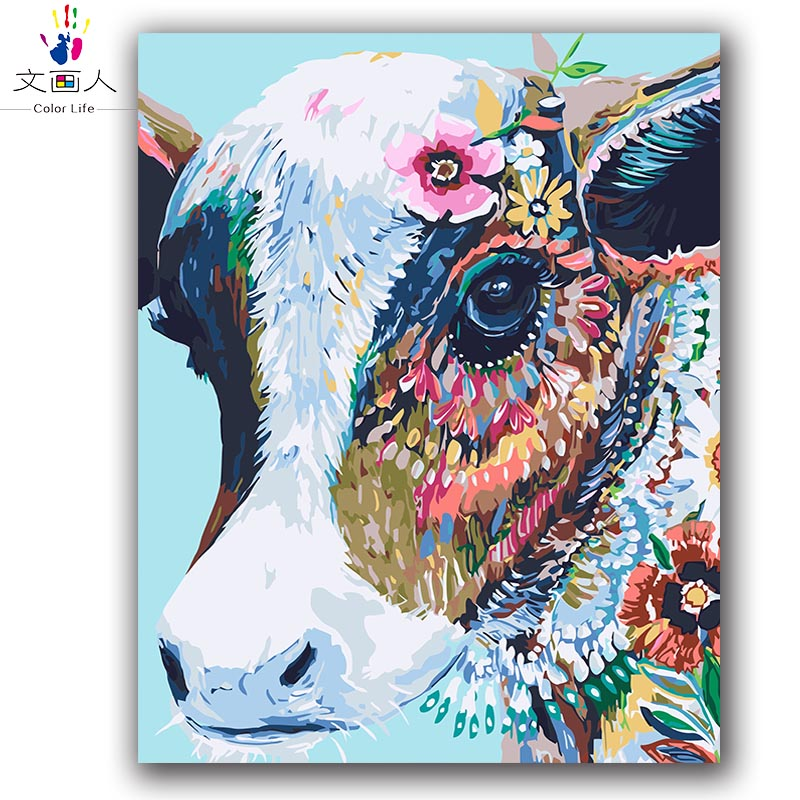 Colorful Cow Abstract Painting By Numbers Animals On Canvas Drawing For Coloring By Numbers With Paint Package For Hoom Decor