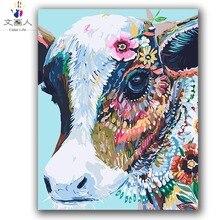 Красочные Корова Абстрактная живопись по номерам животных на холсте рисования для раскраски по номерам с краской посылка для hoom Декор