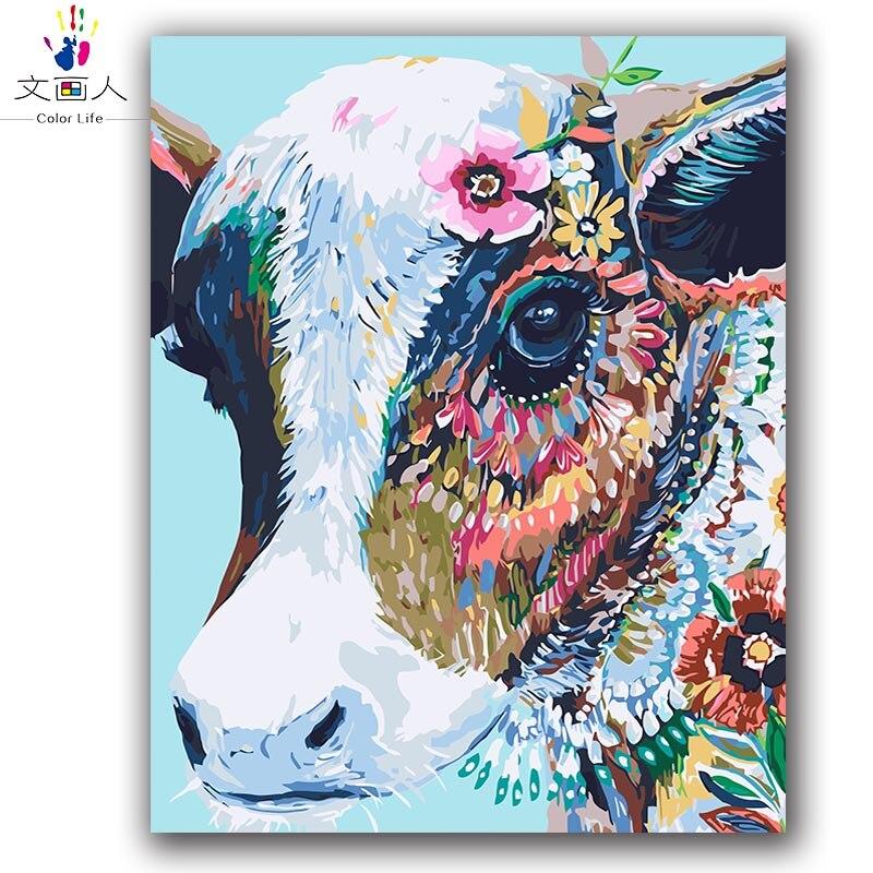 Colorful Mucca astratta pittura by numbers animali su tela di canapa di disegno per colorare dai numeri con vernice pacchetto per hoom decor
