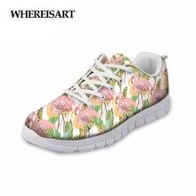 WHEREISART Fashion Woman Shoes 3D Tropical Flamingos Design 2019 Spring Sneakers Breathable Mesh Female Flats Walking Footwear white fashion mesh design flats