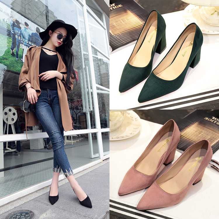 Europe And The United States Pointed Thick With High Heels Suede Shallow Mouth Black Work Shoes Trend Fashion Women's Shoes