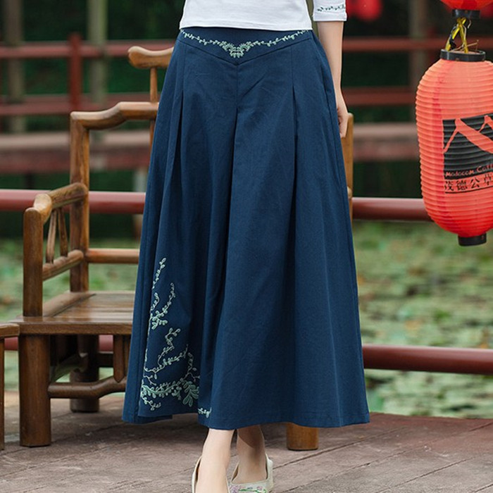 0bdc7a615a6e6d New Cotton Linen Long Skirts Womens Vintage Embroidery A Line Midi Skirt  Navy Blue Chinese Style