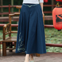 New Cotton Linen Long Skirts Womens Vintage Embroidery A Line Midi Skirt Navy Blue Chinese Style Casual Loose Skirts