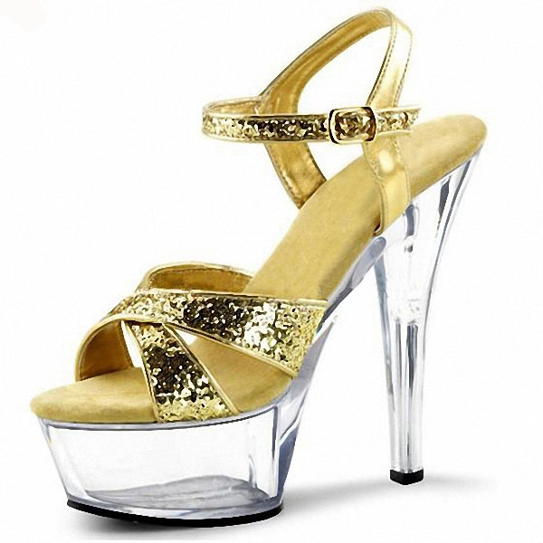 2016 gold crystal glitter sandals 15cm ultra high heels platform dance shoes small yards Gorgeous 6 inch Crystal shoes 17cm ultra high heels sandals glitter platform bride wedding shoes dance shoes 7 inch crystal shoes plus big size